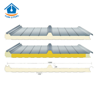 75mm 3 Ribs hidden screws PU Sandwich Roof panel
