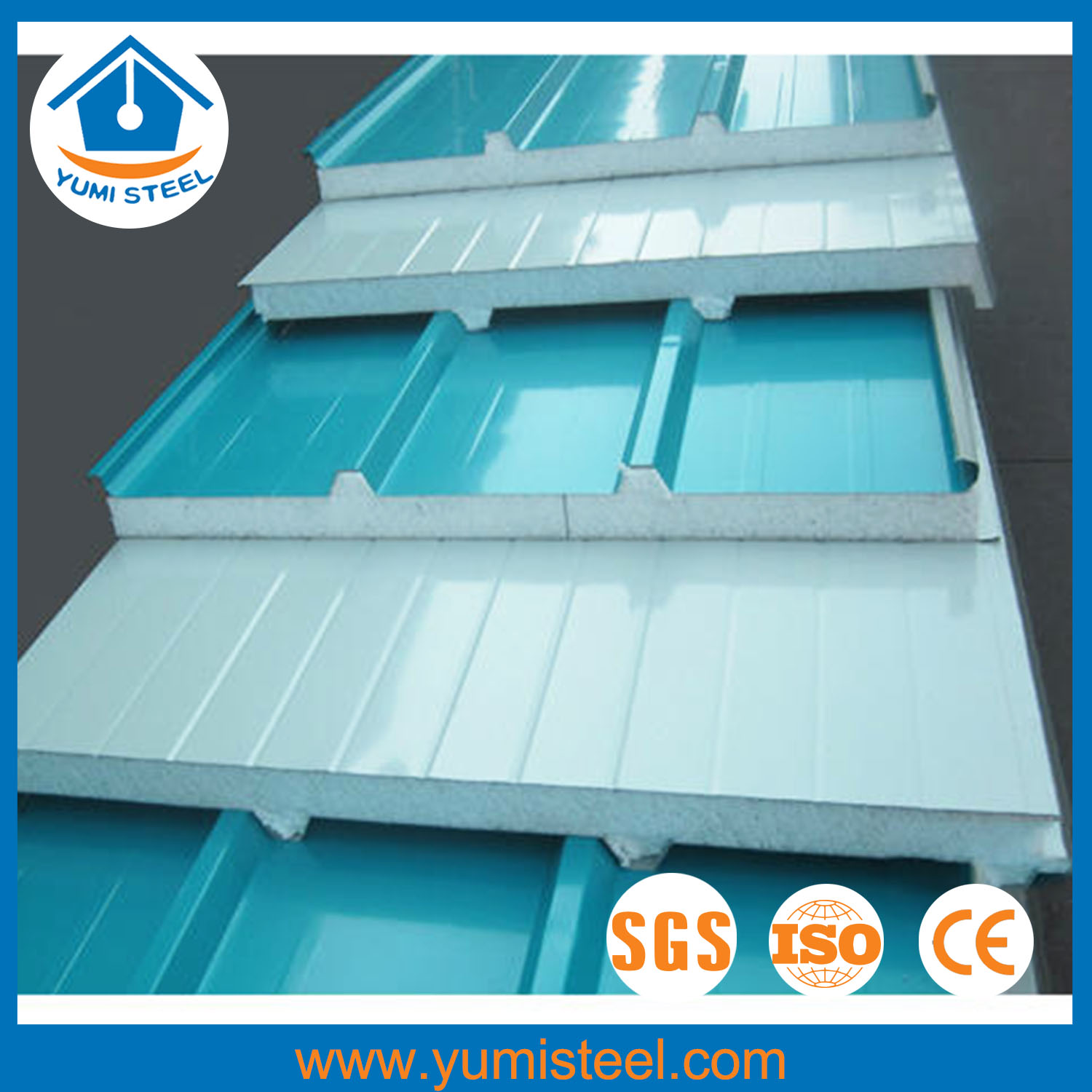 Insulated Colored Pu Sandwich Panels Fireproof