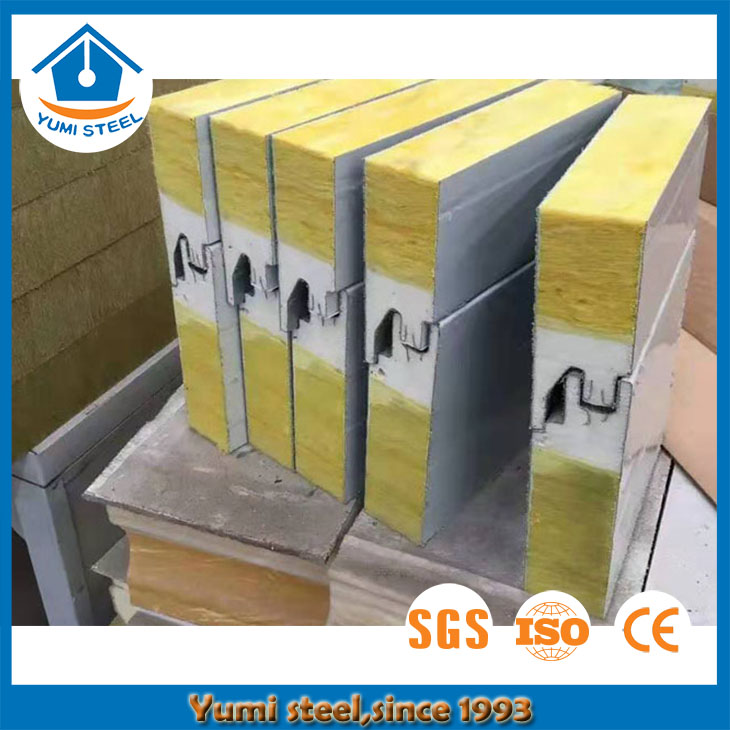 Soundproof PU Sealing End Rockwool Sandwich Wall Panel